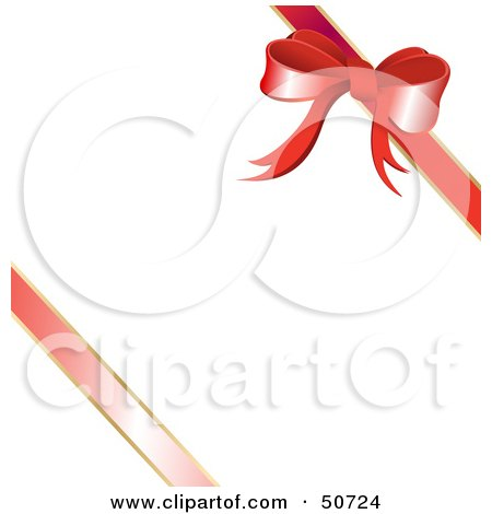 Royalty-Free (RF) Clipart Illustration of a Red Diagonal Ribbon and Bow on a White Gift by MacX