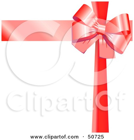 Royalty-Free (RF) Clipart Illustration of a Red Ribbon and Bow Around a White Gift by MacX