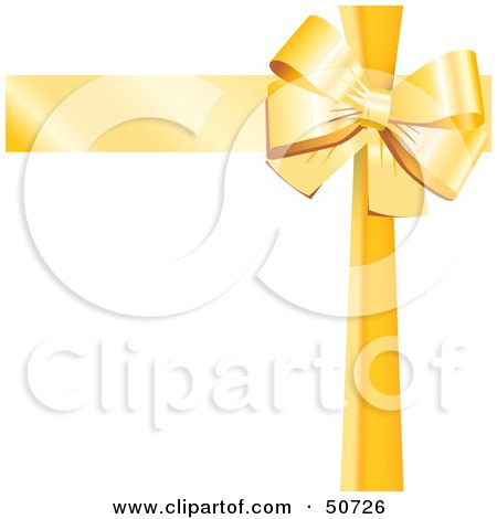 Royalty-Free (RF) Clipart Illustration of a Yellow Ribbon and Bow Around a White Gift by MacX