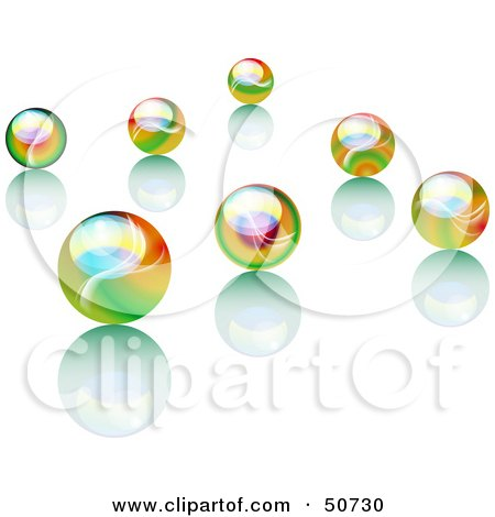 Royalty-Free (RF) Clipart Illustration of Scattered Rainbow Colored Marbles With Reflections by MacX