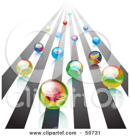 Royalty-Free (RF) Clipart Illustration of a Group Of Racing Colorful Marbles Rushing Forward On A Track by MacX