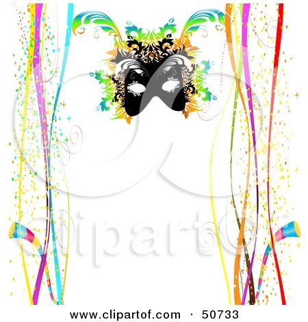 Royalty-Free (RF) Clipart Illustration of a Mardi Gras Mask On A White Background With Borders Of Confetti And Ribbons by MacX