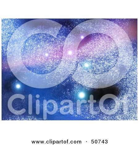 Royalty-Free (RF) Clipart Illustration of a Blue And Purple Starry Background With Glowing Stars In A Galaxy by MacX