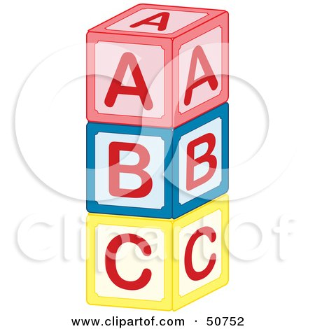Royalty-Free (RF) Clipart Illustration of a Tower of Red, Blue and Yellow ABC Blocks by Cherie Reve