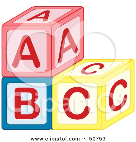 Royalty-Free (RF) Clipart Illustration of a Stack of Red, Blue and Yellow ABC Blocks by Cherie Reve
