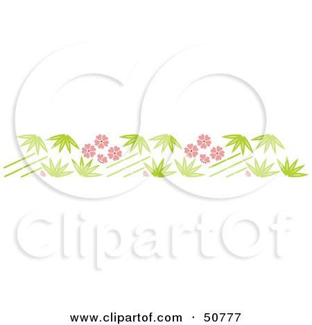 Royalty-Free (RF) Clipart Illustration of a Bamboo Stalk And Pink Flower Header by Cherie Reve