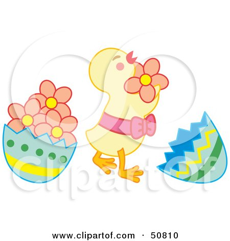 Royalty-Free (RF) Clipart Illustration of a Happy Baby Chick Dancing Between Egg Shells by Cherie Reve