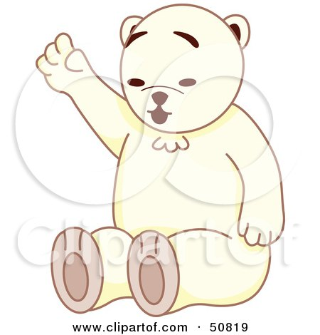 Royalty-Free (RF) Clipart Illustration of a Friendly White Teddy Bear Sitting And Waving by Cherie Reve