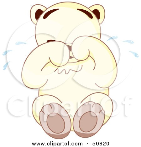 Royalty-Free (RF) Clipart Illustration of a Sad White Teddy Bear Sitting And Crying by Cherie Reve
