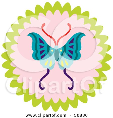 Royalty-Free (RF) Clipart Illustration of a Decorative Butterfly Circle - Version 1 by Cherie Reve