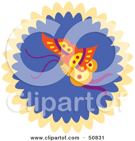 Royalty-Free (RF) Clipart Illustration of a Decorative Butterfly Circle - Version 3 by Cherie Reve