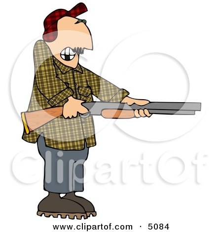 Uneasy Man Pointing A Loaded Shotgun At Someone Clipart