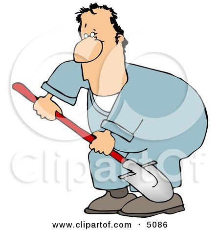 Man Digging Hole with Shovel Clipart by djart