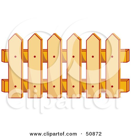 Royalty-Free (RF) Clipart Illustration of a Wooden Picket Fence by Cherie Reve