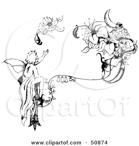 Royalty-Free (RF) Clipart Illustration of a Black And White Injured Fairy Reaching For Its Broken Wing by Cherie Reve