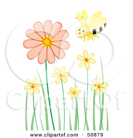 Royalty-Free (RF) Clipart Illustration of a Single Happy Bee Flying Over Pastel Flowers by Cherie Reve
