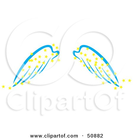 Royalty-Free (RF) Clipart Illustration of a Pair Of Blue Angel Wings With Yellow Magic Stars by Cherie Reve
