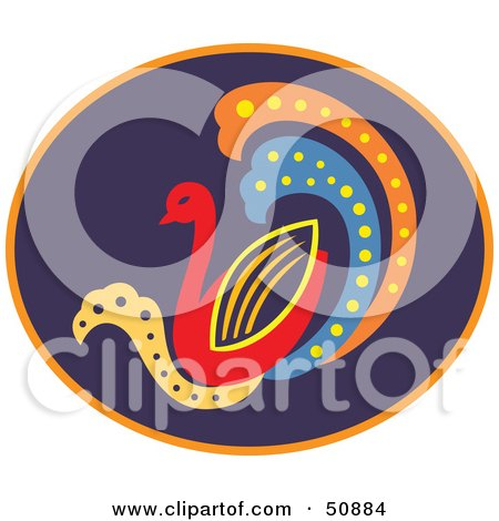 Royalty-Free (RF) Clipart Illustration of a Colorful Duck Or Swan In A Purple Oval by Cherie Reve