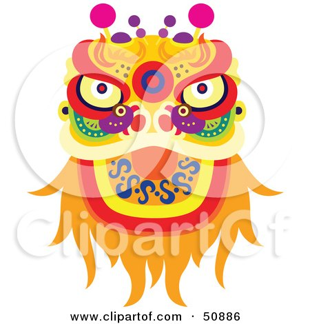 Royalty-Free (RF) Clipart Illustration of a Chinese Fortune Dragon by Cherie Reve