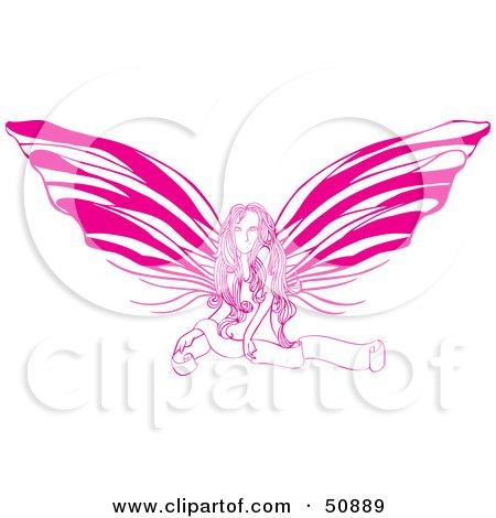 Royalty-Free (RF) Clipart Illustration of a Pretty Pink Fairy Girl With A Blank Scroll by Cherie Reve