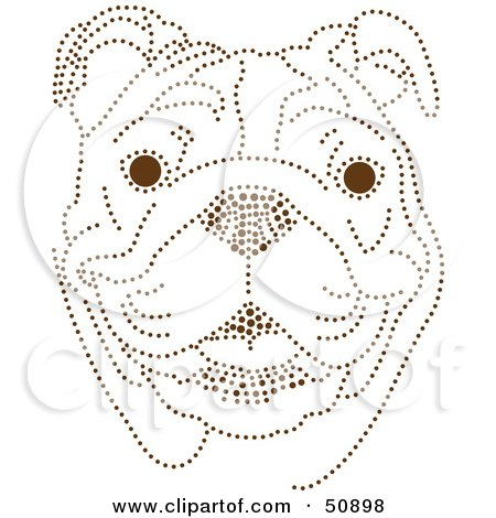 Royalty-Free (RF) Clipart Illustration of a Friendly Bulldog Face Made Of Brown Dots by Cherie Reve