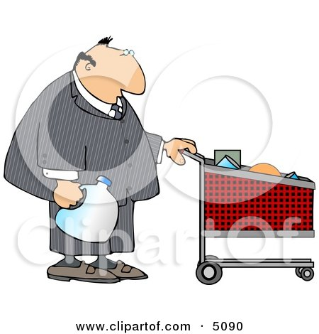 Businessman Pushing a Shopping Cart in a Grocery Store Clipart by djart