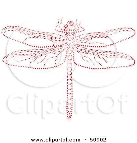 Royalty-Free (RF) Clipart Illustration of a Dragonfly Made of Red Dots by Cherie Reve