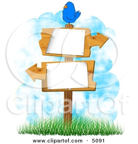 Bird Perched On a Blank Sign with Arrows Pointing In Opposite Directions Clipart by djart