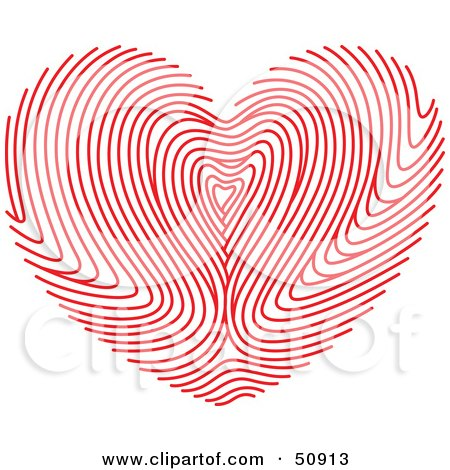 Royalty-Free (RF) Clipart Illustration of a Red Fingerprint Patterned Heart by Cherie Reve