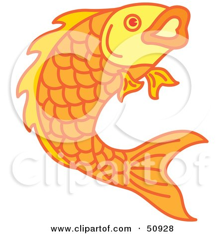 Royalty-Free (RF) Clipart Illustration of a Swimming Goldfish - Version 4 by Cherie Reve