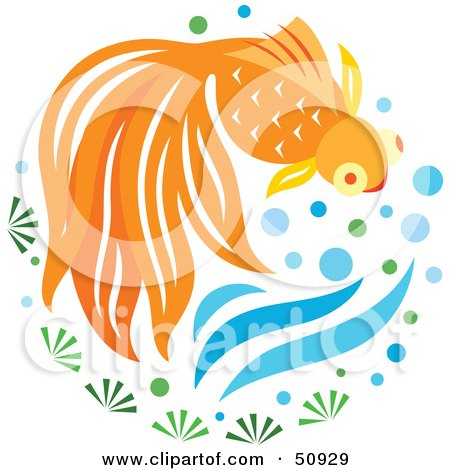 Royalty-Free (RF) Clipart Illustration of a Swimming Goldfish - Version 2 by Cherie Reve