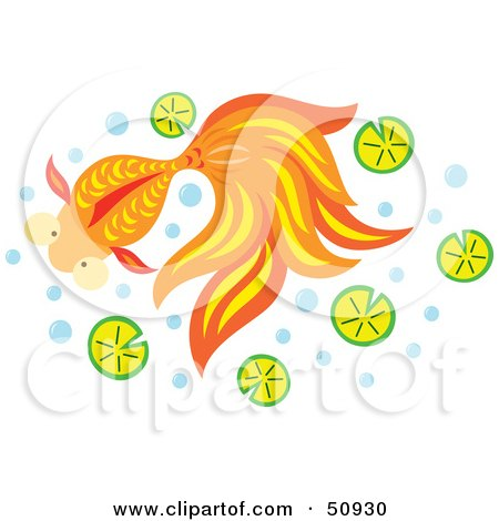 Royalty-Free (RF) Clipart Illustration of a Swimming Goldfish - Version 1 by Cherie Reve
