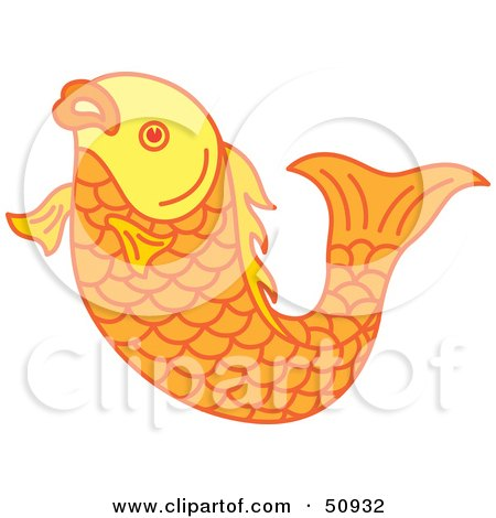 Royalty-Free (RF) Clipart Illustration of a Swimming Goldfish - Version 3 by Cherie Reve