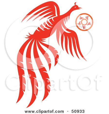 Royalty-Free (RF) Clipart Illustration of a Flying Orange Fantasy Phoenix With a Ring by Cherie Reve