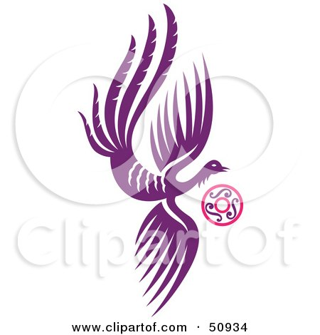 Royalty-Free (RF) Clipart Illustration of a Flying Purple Fantasy Phoenix With a Ring by Cherie Reve