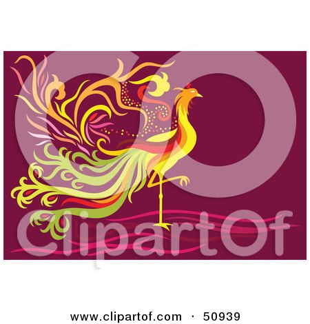 Royalty-Free (RF) Clipart Illustration of a Colorful Fantasy Phoenix by Cherie Reve
