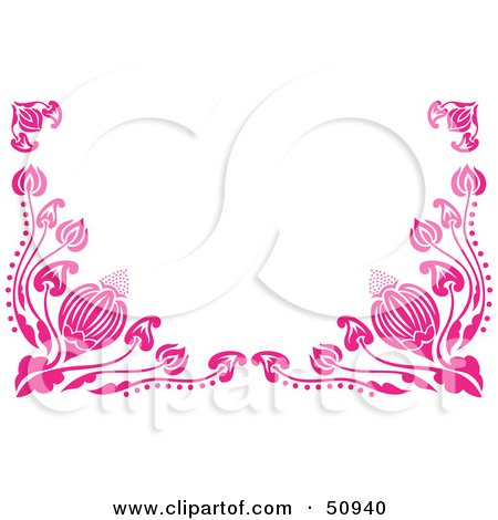 Royalty-Free (RF) Clipart Illustration of a Border of Pink Flower Vines by Cherie Reve