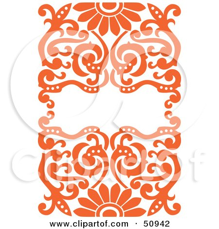 Royalty-Free (RF) Clipart Illustration of an Ornate Orange Floral Background With Space For Text by Cherie Reve