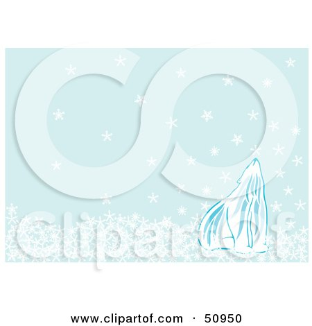 Royalty-Free (RF) Clipart Illustration of a Polar Bear Looking Up As Snowflakes Fall From The Blue Sky by Cherie Reve