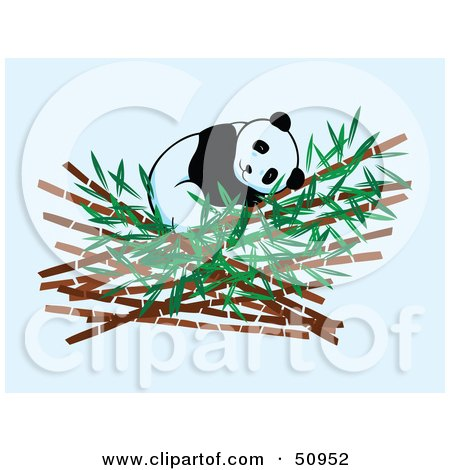 Royalty-Free (RF) Clipart Illustration of a Giant Panda Sleeping In Bamboo by Cherie Reve