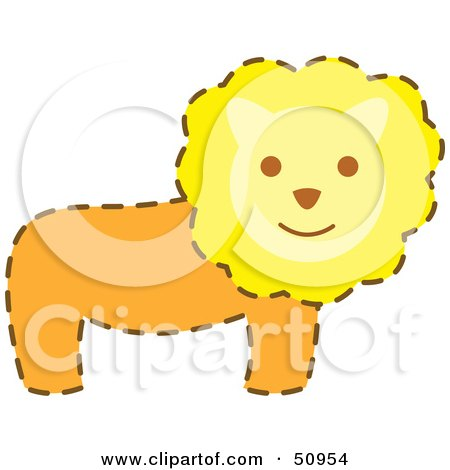 Happy Male Lion With A Brown Dash Outline Posters, Art Prints