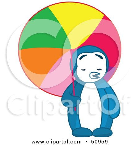 Royalty-Free (RF) Clipart Illustration of a Hot Blue Penguin Being Shaded With A Colorful Parasol by Cherie Reve