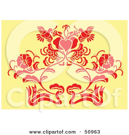 Royalty-Free (RF) Clipart Illustration of a Red Floral Decoration On Yellow - Version 2 by Cherie Reve