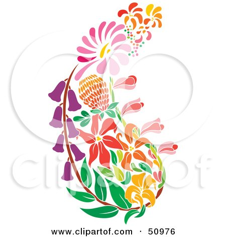 Royalty-Free (RF) Clipart Illustration of a Paisley Made of Colorful Flowers by Cherie Reve