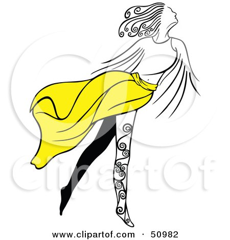 Royalty-free clipart picture of a graceful woman with leg tattoos,