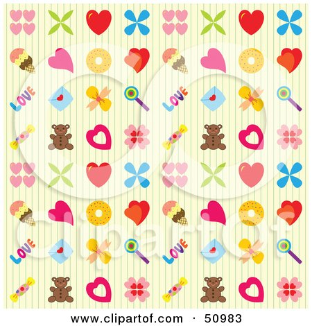 Background Pattern Of Hearts, Ice Cream, Teddy Bears And Other Items Posters, Art Prints