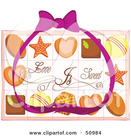 Royalty-Free (RF) Clipart Illustration of a Purple Ribbon Over Valentines Day Chocolates by Cherie Reve