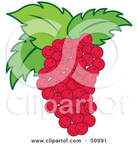 Royalty-Free (RF) Clipart Illustration of a Blunch Of Fresh Red Grapes With Green Leaves by Cherie Reve