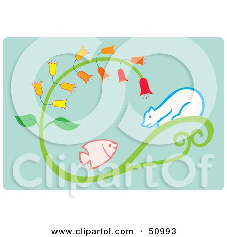 Royalty-Free (RF) Clipart Illustration of a Polar Bear On A Plant, Watching A Fish by Cherie Reve