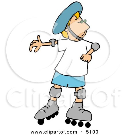 Boy Rollerblading with Protective Helmet, Shoulder, and Knee Pads Clipart by djart